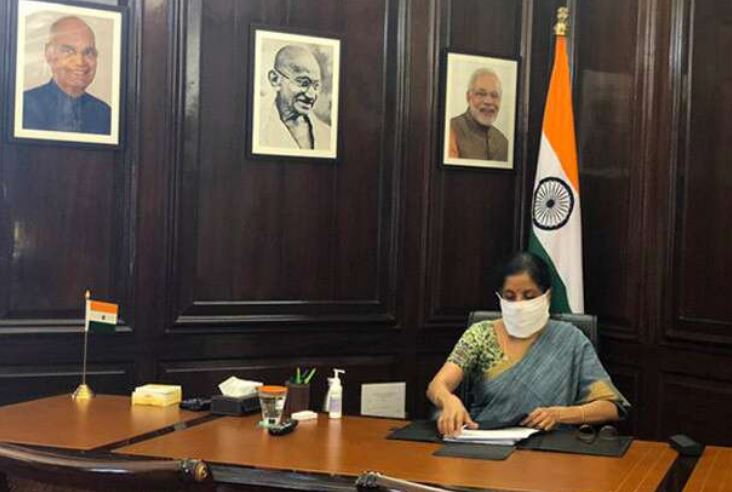 fm nirmala sitharaman returns to work on day 20 of national corona lockdown