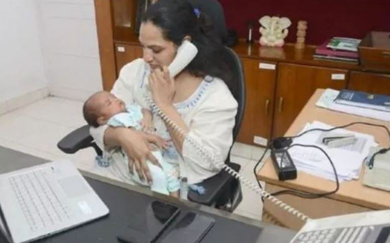 ias srijana gummalla works in office with her baby