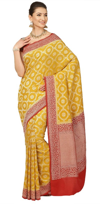 Banarasi Georgette Chiffon Bordered Saree with Blouse piece