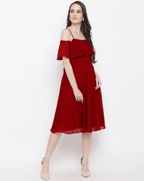 off shoulder fit and flare dress – Maroon