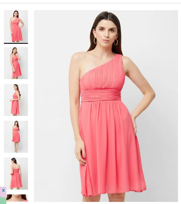 Coral Gathered One Shoulder Fit And