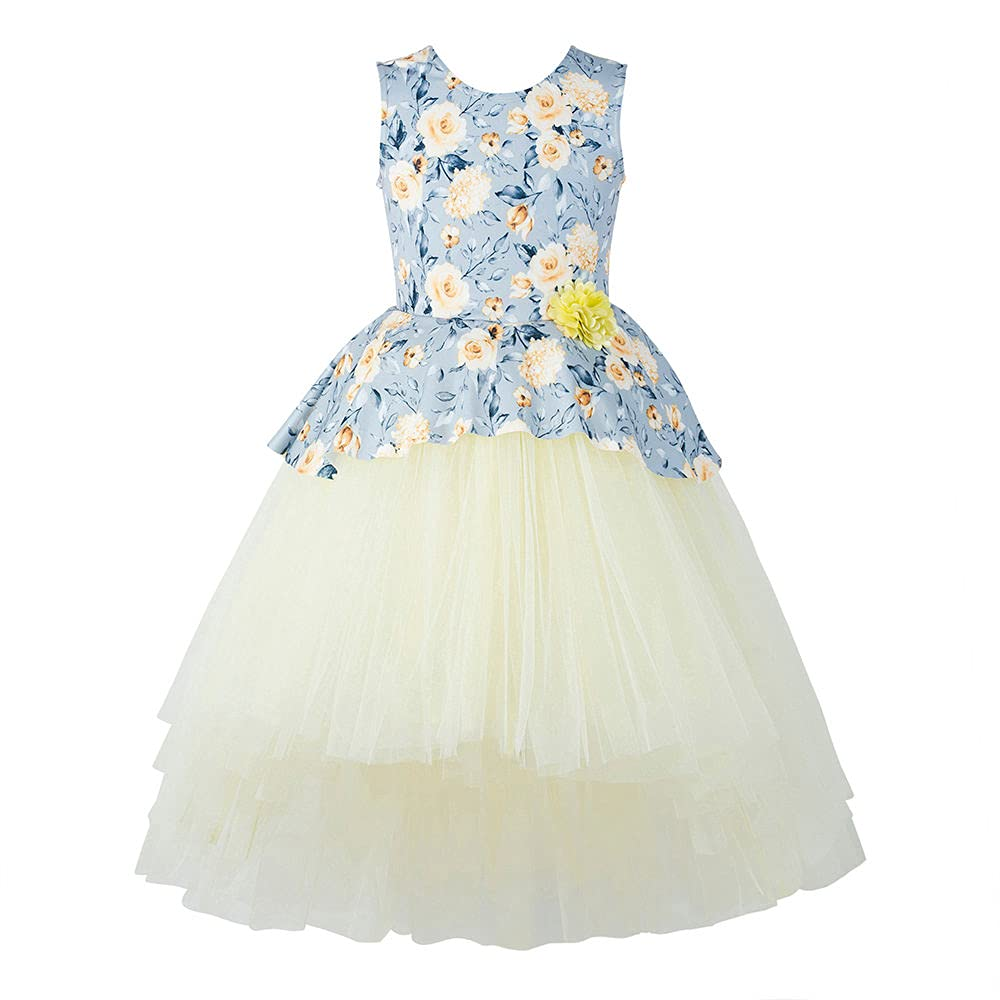Hopscotch Girls Cotton High-Low Dress in Yellow Color