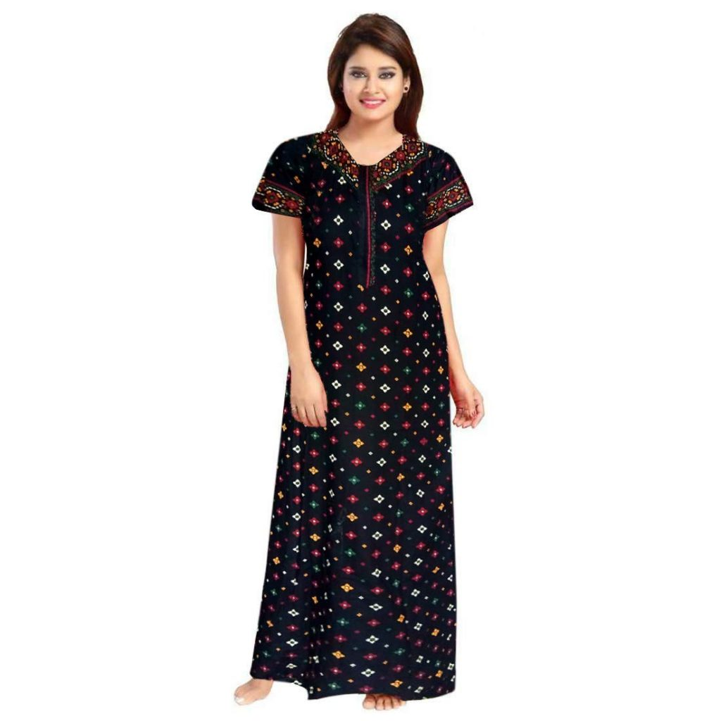 NEGLIGEE Women's Cotton Printed Maxi Night Gown Nighty (